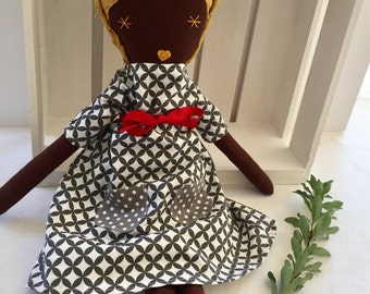 Beautiful fabric doll, brown skin and mustard linen hair. Gray and white dress. Rag doll, cloth doll. Birthday gift, Christmas, holiday