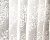 White Semi Sheer Fabric in Chevron Lace Burnout - Sale Clearance