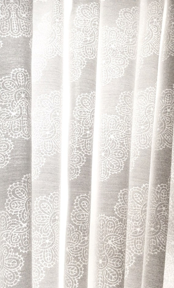 White Semi Sheer Fabric In Chevron Lace Burnout Sale