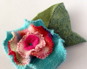 Felted flower brooch- recycled wool