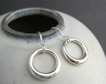 small sterling silver hoop earrings. round circle dangles. petite drops everyday earrings simple dainty delicate jewelry gift for her 5/8""