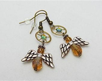 Steampunk ear gear - Angel - Steampunk Earrings - Repurposed art