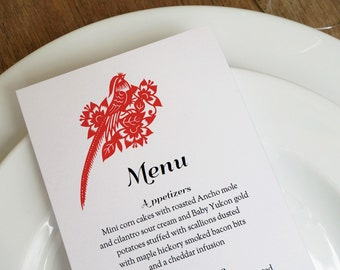 Wedding Menu - Red and Black Chinese Paper Art Printable Wedding Menu Template- Printable Menu Template - Menu Template - Menu Card PDF