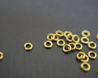 Tiny Little Raw Brass Round Jump Rings - 2.3mm x 0.6mm Thick -100 pcs