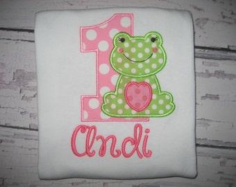 Birthday Frog monogrammed bodysuit shirt