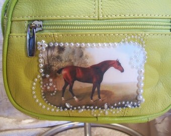Yellow Leather Crossbody Purse with a Horse Scene and Rhinestones