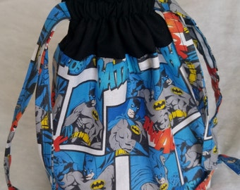 Super Hero Batman Bag/ Super Hero Batman Drawstring Bag/ Children's Drawstring Bag/ Little Boy Drawstring Bag, Small Drawstring Bag