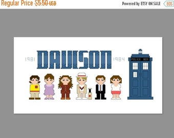 SALE Doctor Who 5th Doctor Pixel People Character Cross Stitch PDF PATTERN Only