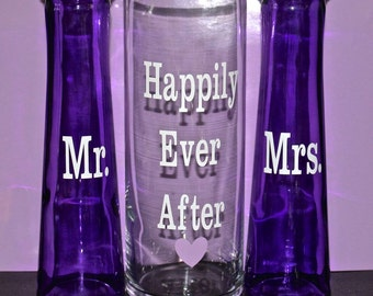 Unity Sand Ceremony Glass Containers - Purple Amethyst and Clear Glass - Happily Ever After - Ready to Ship! Free Personalization Available