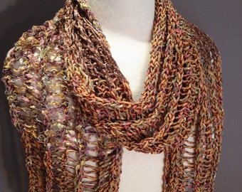 Handmade Fringed knit art scarf, Refined flexible draping knit scarf, 'Desert Sands', Wide Shawl, Acrylic satin, Tan scarves, spring scarf