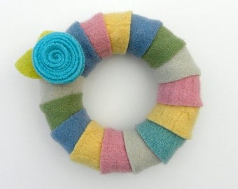 Rescued Wool Wreath - Wool Wrapped Wreath in Pastels