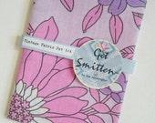 Sketch Like Pink & Purple Flowers With Black Outline British Vintage Fabric Fat Quarter