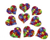 NINE AUTISM HEARTS Applique Iron-on Fusible Fabrics, 3 sizes, puzzle piece fabric