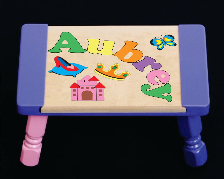 Custom Name Puzzle Princess Theme Pastel Step Stool An