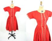 "1950s dress vintage 50s red heart print trim button down dress XS W 24"""