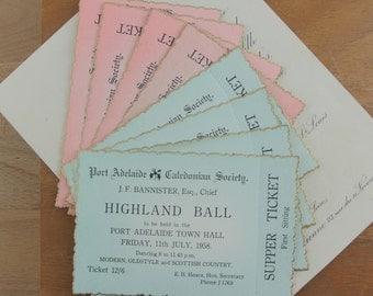 Vintage Australian Highland Ball  / Dance Tickets 1958    8 Tickets Pink & Blue