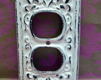 Fleur de lis Cast Iron FDL Plug Cover Shabby Chic Off White Home Decor