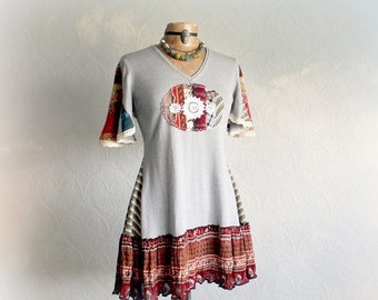 Patchwork Sweater Upcycled Clothing Boho Women's Tunic Chic Funky Clothes Fit Flare Shirt Bohemian Retro Style Stretch Knit Top M 'MELANIE'