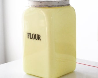 McKee Seville Yellow Flour Canister 48 Ounces Press On Lid