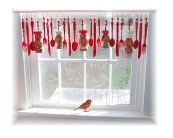 FREE SHIPPING! Savings of Twenty Dollars Shipping Costs! Shaking Up the Kitchen  Kitschy Kitchen Window Treatment Valance Curtain