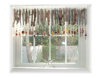 Natural Beaded Beachy Keen Natural Driftwood Window Treatment Valance