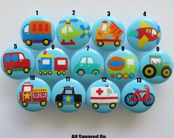 Set of 4-Blue Transportation themed Drawer Knobs Collection 4-Mix and Match-You choose which designs