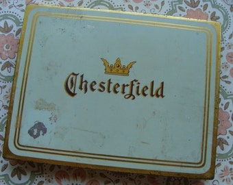 Antique Chesterfield Cigarette Hinged Tin