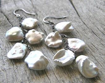 Keshi Pearl Earrings, Cornflake Pearl and Sterling Silver Earrings, Bridal Earrings