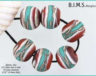 Lampwork Beads, 6 Etched Coral, Ivory & Turquoise Glass Bead w/Silvered Ivory Stringer, Made to Order, Bims Bangles