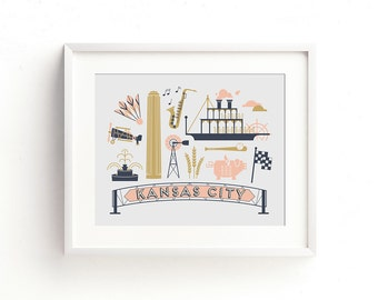 Kansas City Letterpress Art Print - Pink