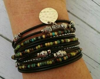 Boho Simple Leather Wrap Bracelet for Women - MultiStrand Bracelet - Chunky Leather Cuff - Choose ONE Charm - Customizable -  Best Seller