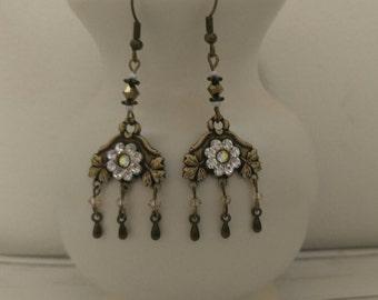 Antique Brass Rhinestone Flower Chandelier Earrings// Crystal Beaded Dangle Earrings// Bohemian Jewelry// Vintage Style Bridal Earrings