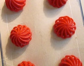 Antique Buttons/ Two Cards of Buttons/ 12 Red Bakelite Pinwheel Buttons / 1930's  /NOS /Art Deco Style /Sewing Crafts/Notions