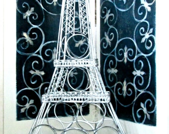 Vintage Wine Rack/ Eifel Tower Wine Rack/Bottle Holder/Wine Storage/Home Decor/Shabby Chic/ Distressed Painted Metal