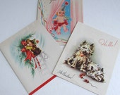 Three Vintage Christmas Cards, 1940s and 1950s, Used, Mixed Media, Scrapbooking, December Daily, Christmas Journaling, Holiday Cards