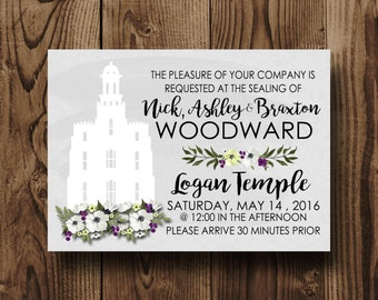 LDS Family Sealing Invitation, Lds Wedding Invite, Temple Wedding invitation , Temple Marriage invitation, Custom  printable Invitation- 5x7
