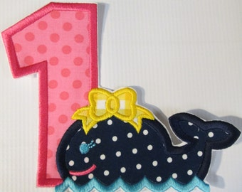 Birthday Whale - Iron On or Sew On Embroidered Applique