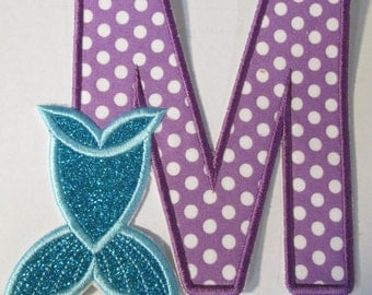 Mermaid Tail Letters  - Iron On or Sew On Embroidered Custom Made Applique