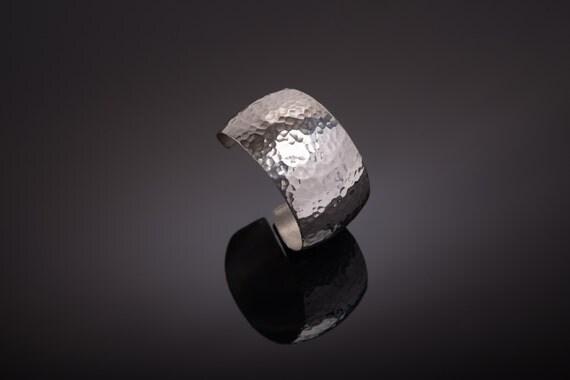 Modern - Handmade -  Sterling Silver -  Hammered - Textured - Cuff Bracelet
