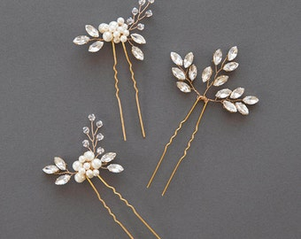 Wedding Hairpin | Gold Crystal Leaf Hair Pin | Rhinestone Vine Hairpin | Bridal Hair Comb | Pearl Hairpin [Senna & Liv Hairpin Set of Three]