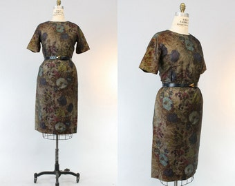 50s Dress Organza Medium / 1950s Floral Wiggle Dress / Veiled Dream Dress