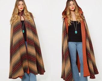 Vintage 70s STRIPED Cape Earth Tone Chevron Stripe Wool Cape with HOOD Boho Blanket Cape OVERSIZED Cape