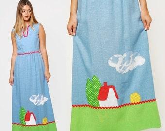 SALE Vintage 70s Chambray Maxi Dress PATCHWORK Appliqué Dress NOVELTY Print Hippie Dress Farm House Print Dress