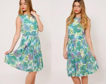 Vintage 50s Aqua FLORAL Dress Pleated Midi Dress Rockabilly Dress FIT & FLARE Dress