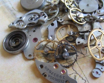 Vintage WATCH PARTS gears - Steampunk parts - y54 Listing is for all the watch parts seen in photos