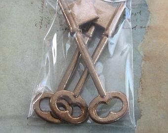 Skeleton Keys - Vintage Antique keys-  Barrel keys- Steampunk - Altered art F29