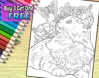 Cat with Butterfly - Adult Coloring Book Page - Printable Instant Download