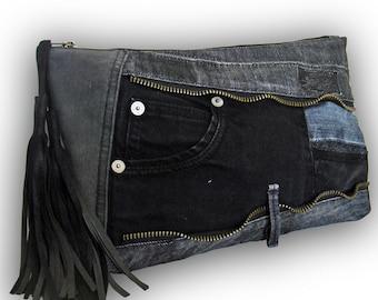 Recycled Old Jeans Patchwork Clutch Bag / Jeans bag - Black Denim Bag