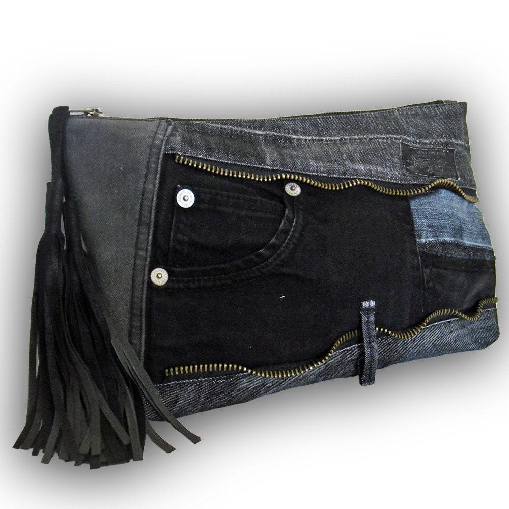Recycled old jeans patchwork clutch bag jeans bag black for Old denim