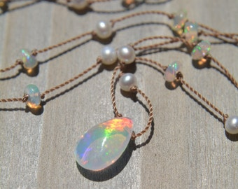 Ethiopian Welo Opal and White Pearl Knotted Silk Necklace